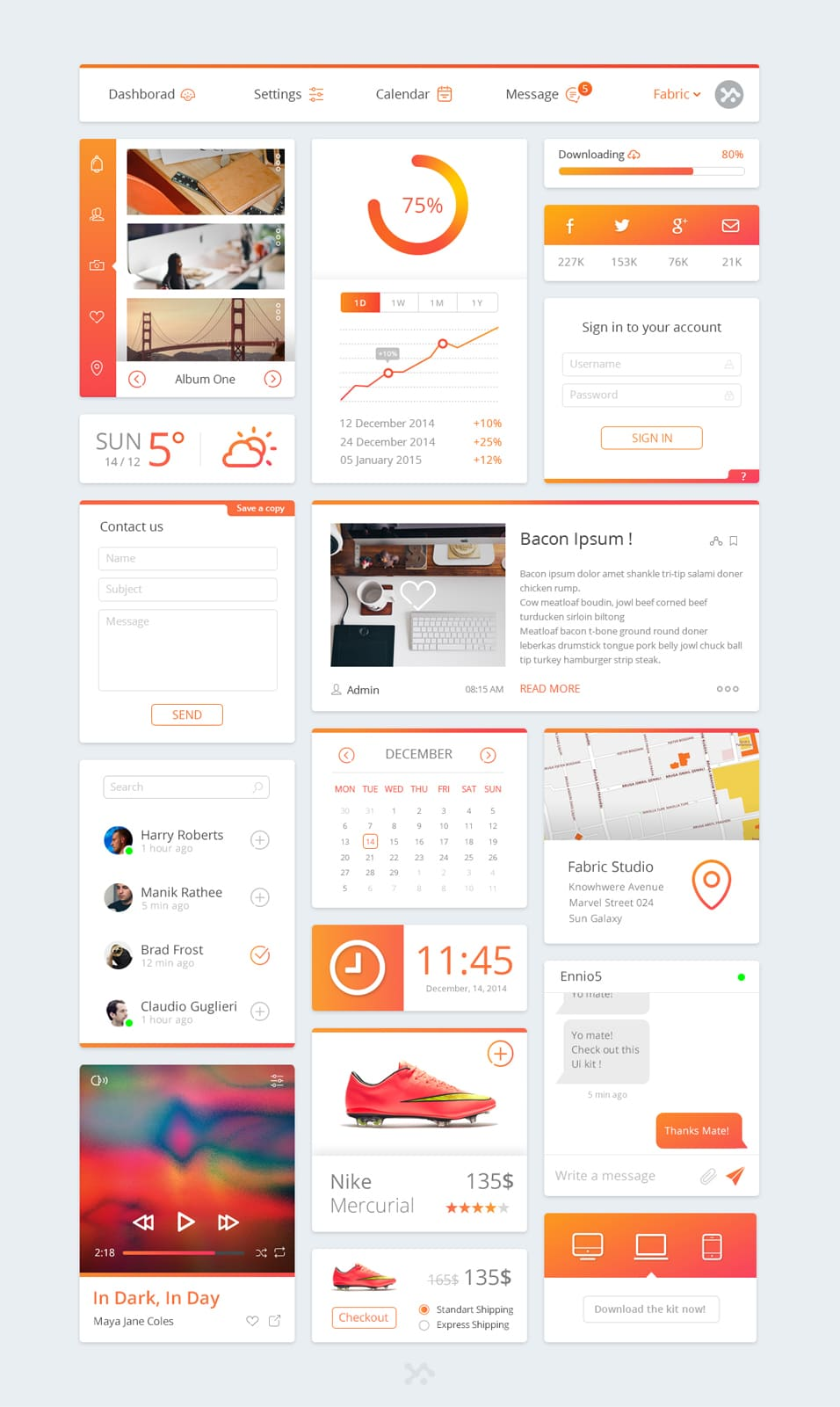 Free Dashboard UI Kit PSD