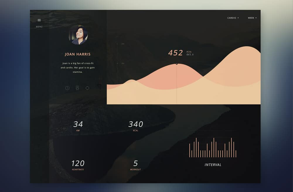Gym Assistant App Dashboard UI PSD