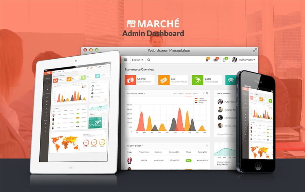 Marche - Free Dashboard UI PSD