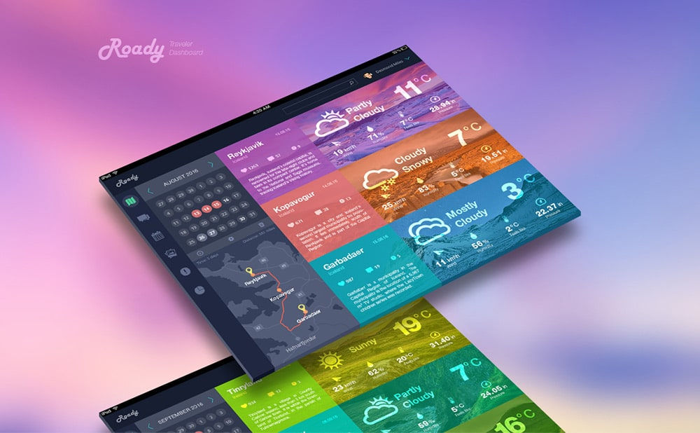 Roady Traveler Dashboard PSD