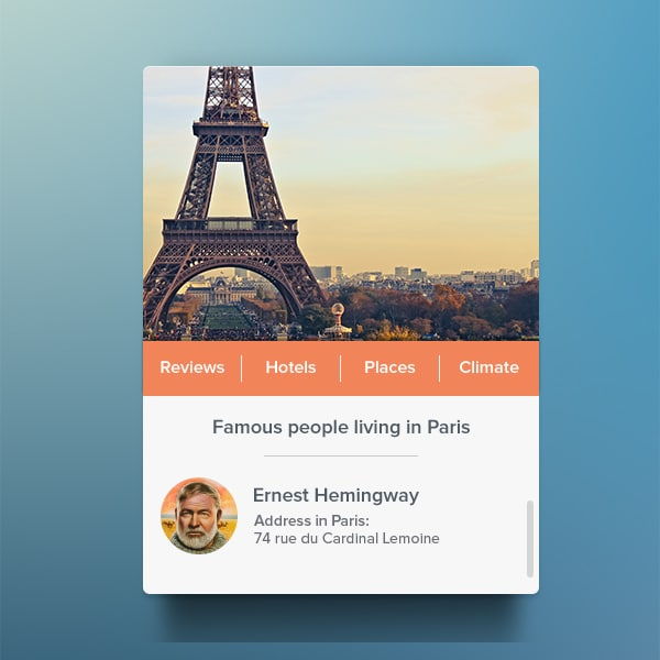 Travel Widget PSD
