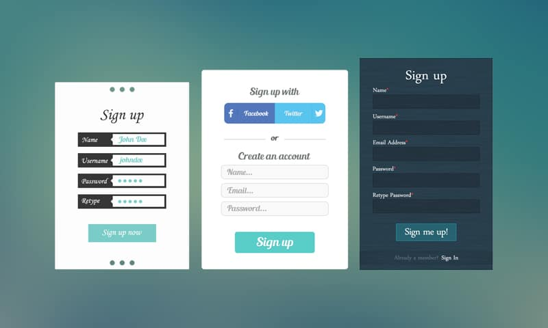 3 Sign Up PSD Templates