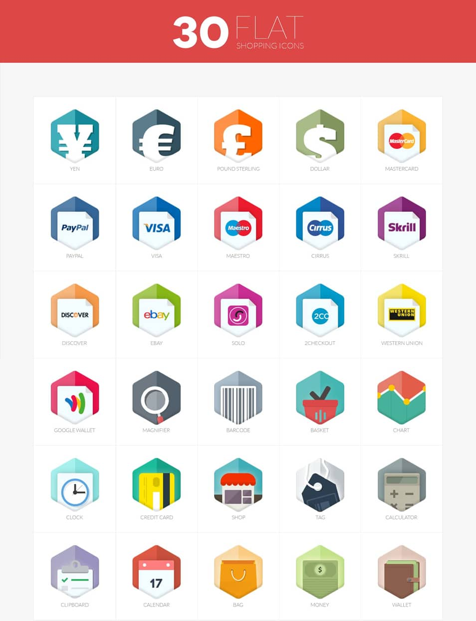 30 flat shopping icons