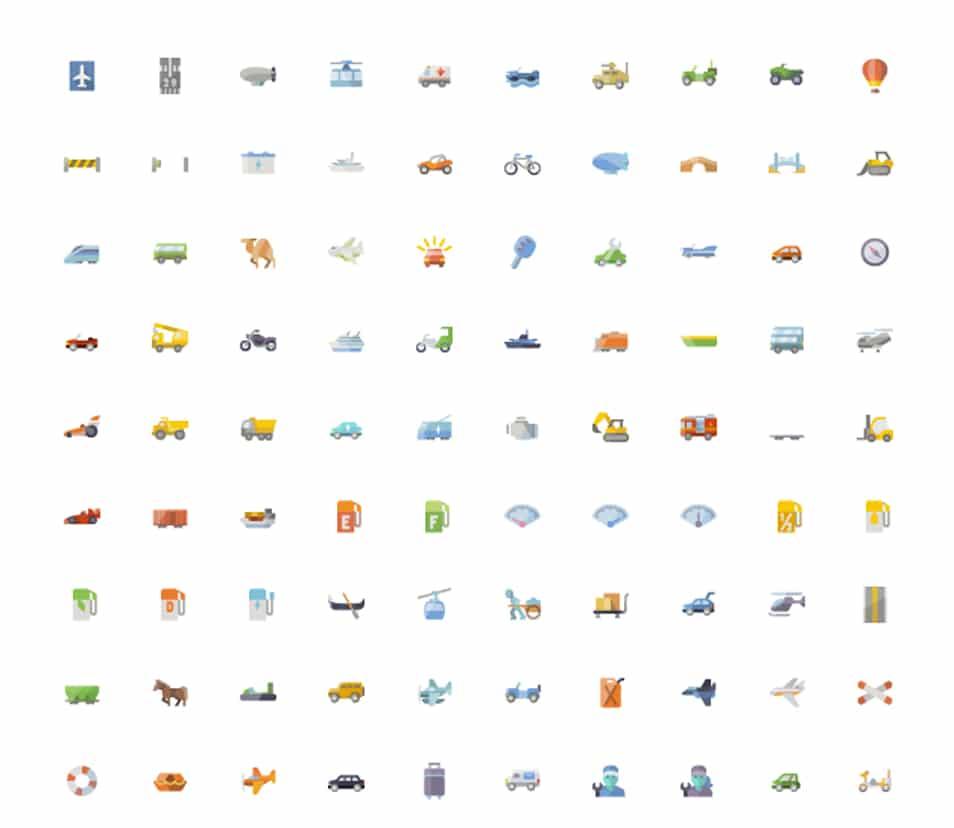 3600 Flat icons set