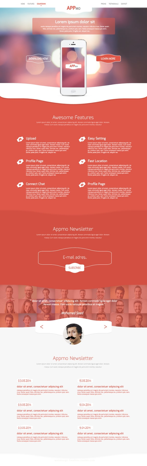 Appmo Free One Page App Landing Page PSD Template