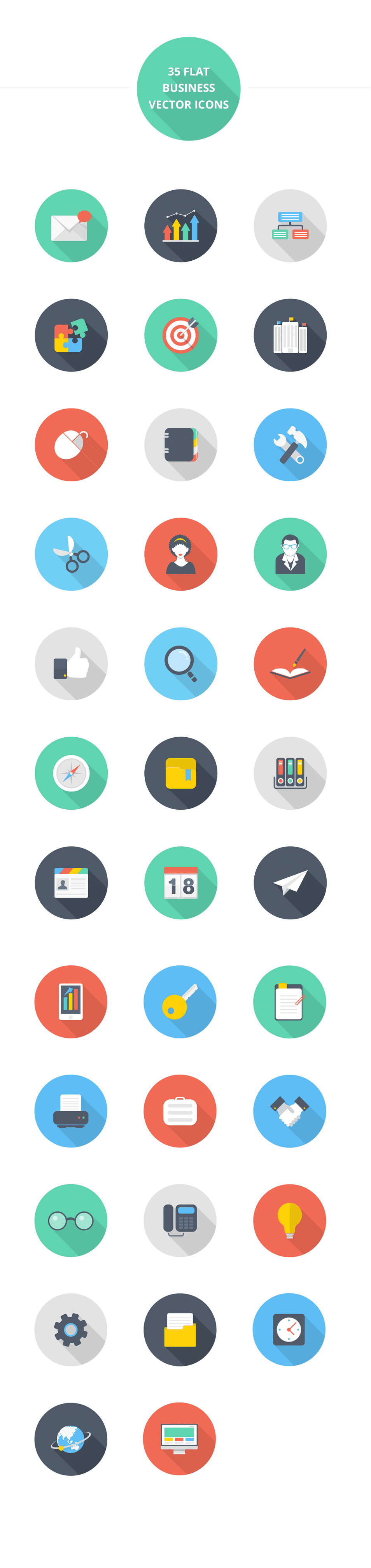 Beautiful Flat style icon set