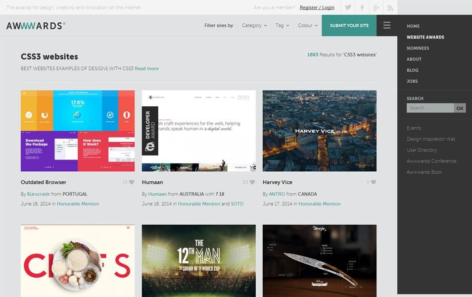 CSS3 websites - awwwards
