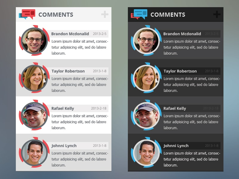 Comments Widget with Free PSD