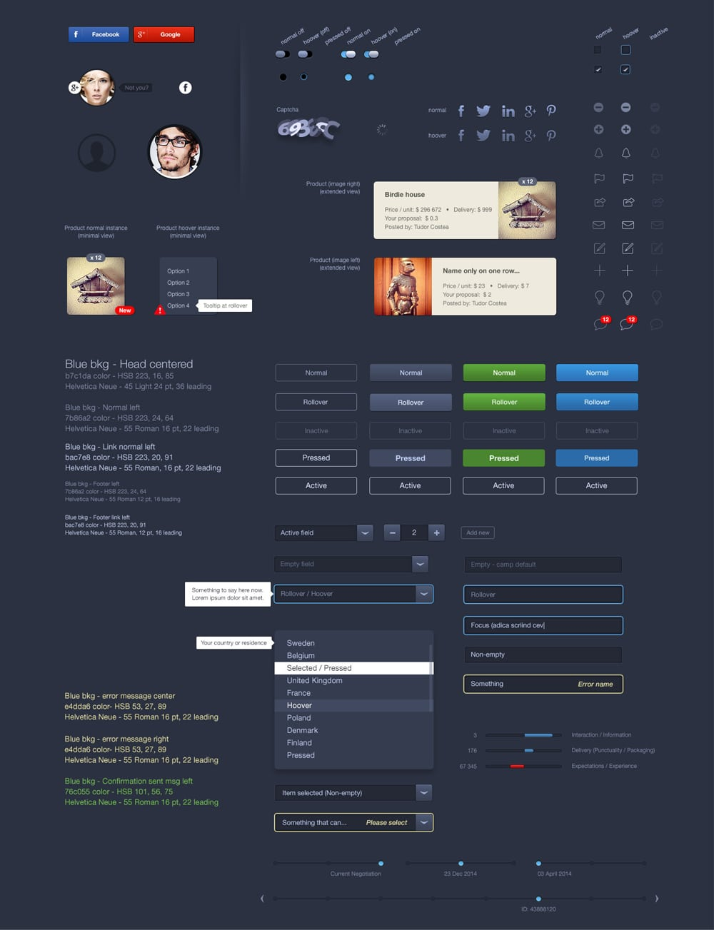 Dark Blue - Free E commerce UI PSD