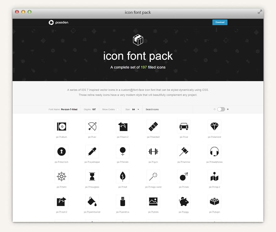 Filled 7 Icon Font