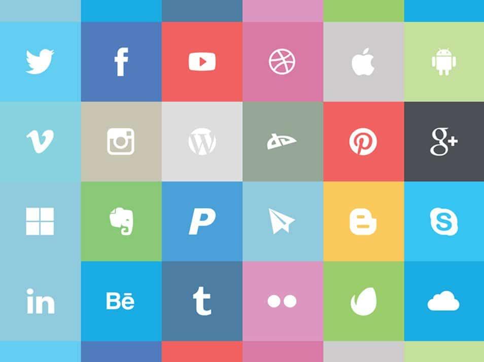 Flat Social Icon Set