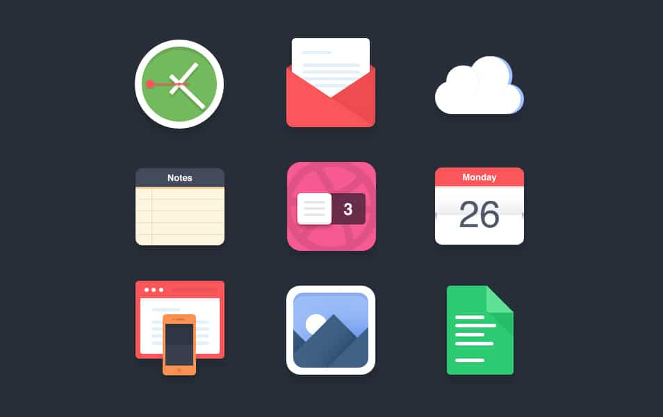 Flat icons PSD #2