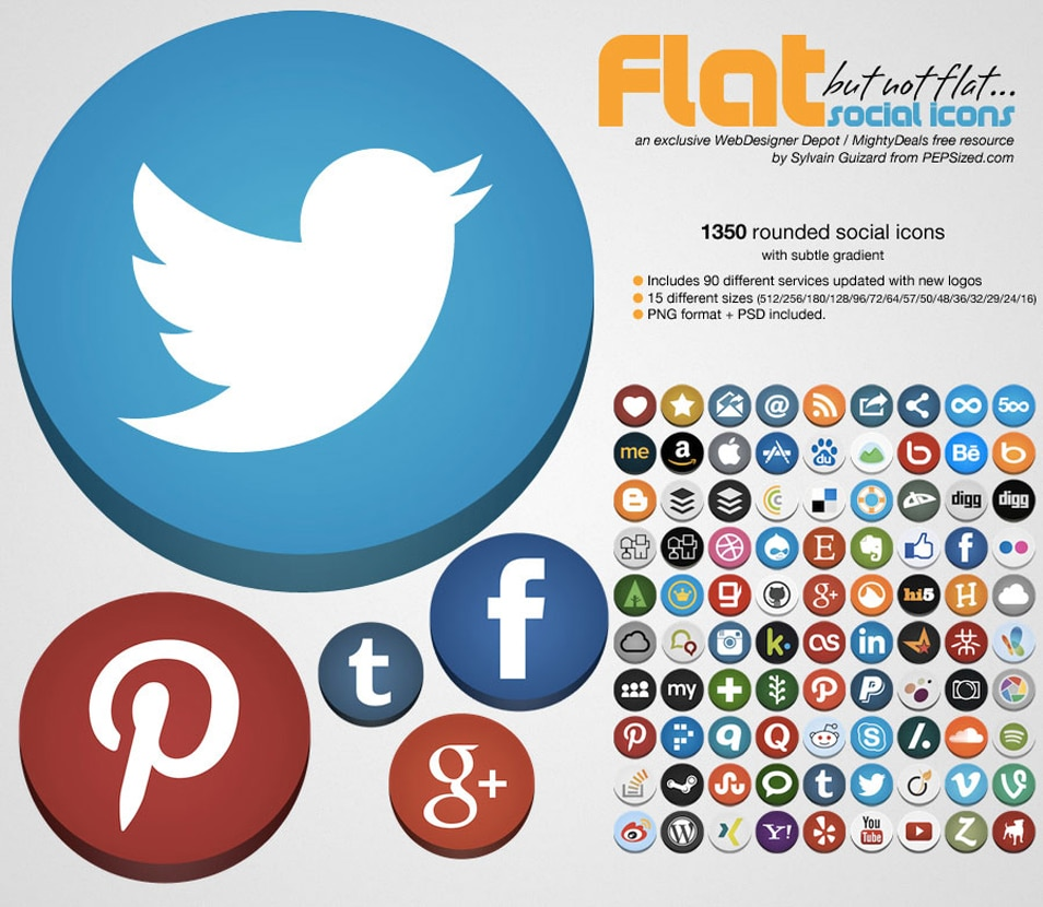 Flat rounded social icons