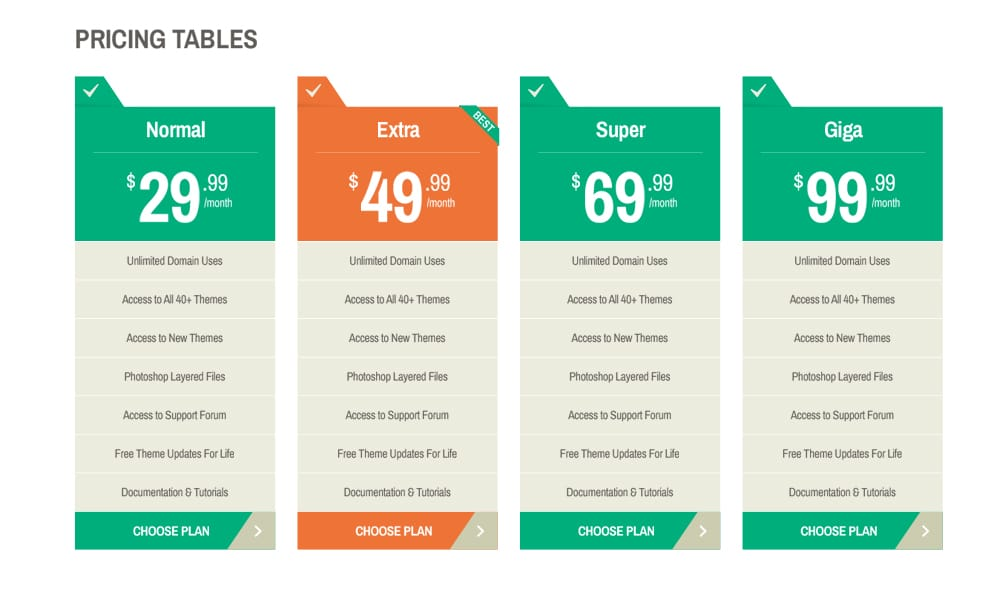 Free Pricing Tables PSD