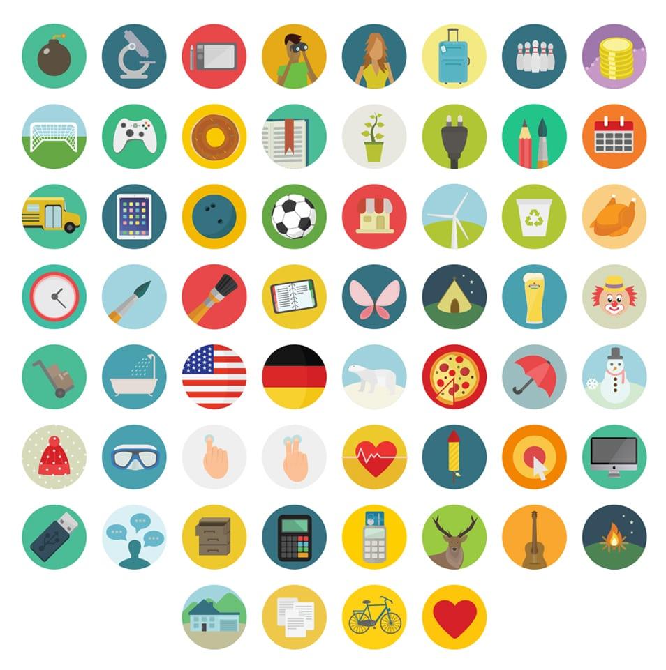Free flat round icons set – 60 icons