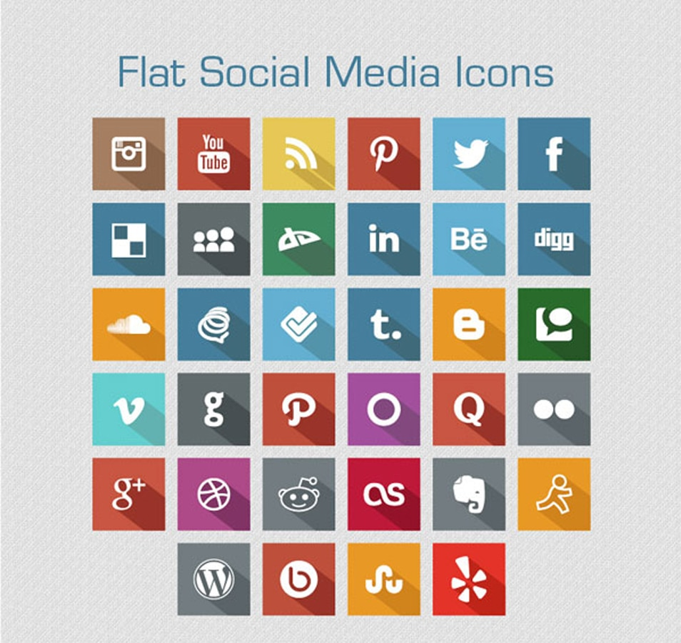 Long Shadow Flat Free Social Media Icons 2013