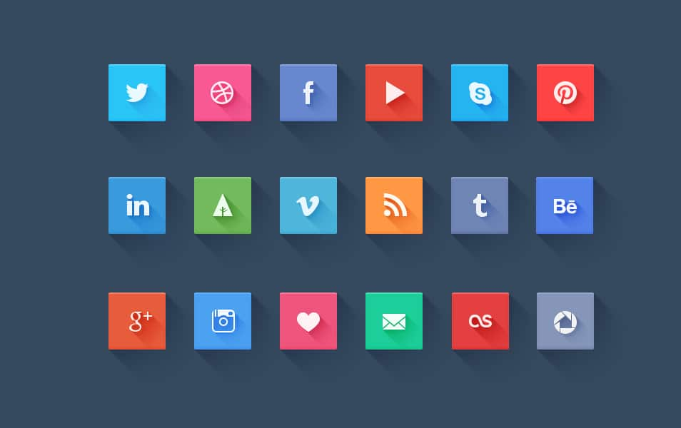 Long Shadow Flat Social icons Set