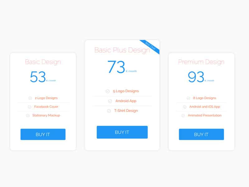 Pricing Table Design PSD