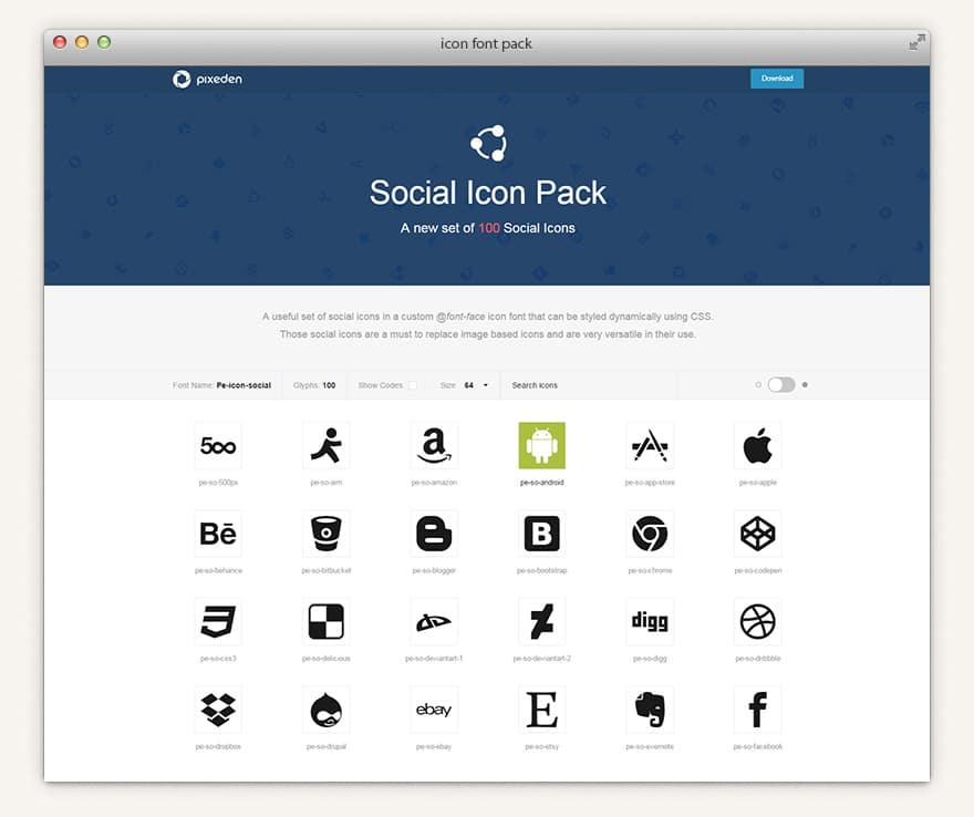 Social Icon Font Set