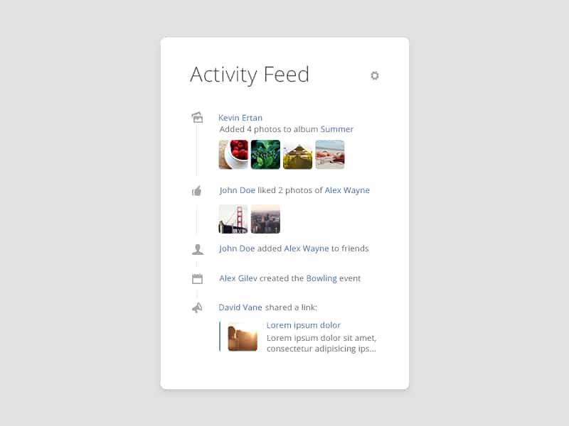Activity Feed Widget PSD