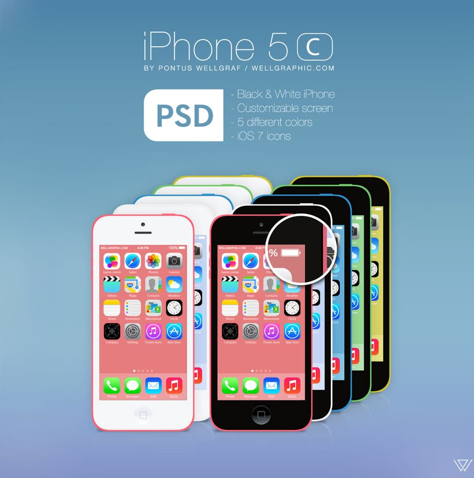 Apple iPhone 5C PSD