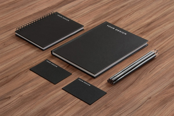 Black Paper on Wood Stationery MockUp