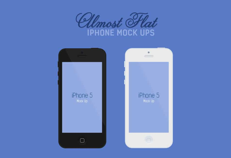 Flat iPhone 5 Mockups