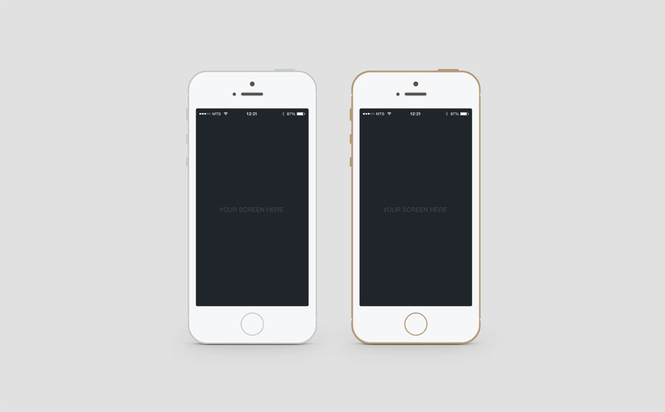 Flat iPhone 5S PSD Mockup