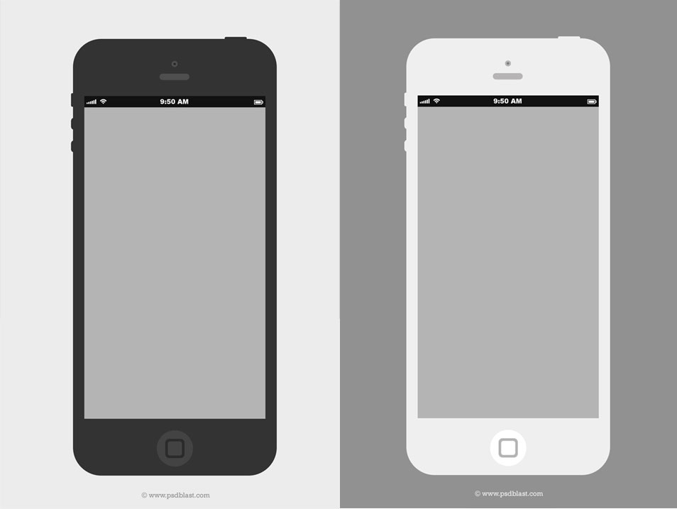 Flat iPhone Wireframe Design Template (PSD)