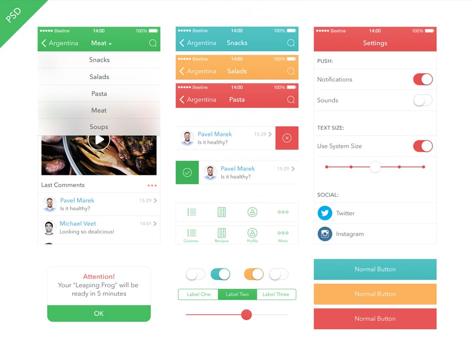Food App Kit iOS 7 Mobile App UI PSD