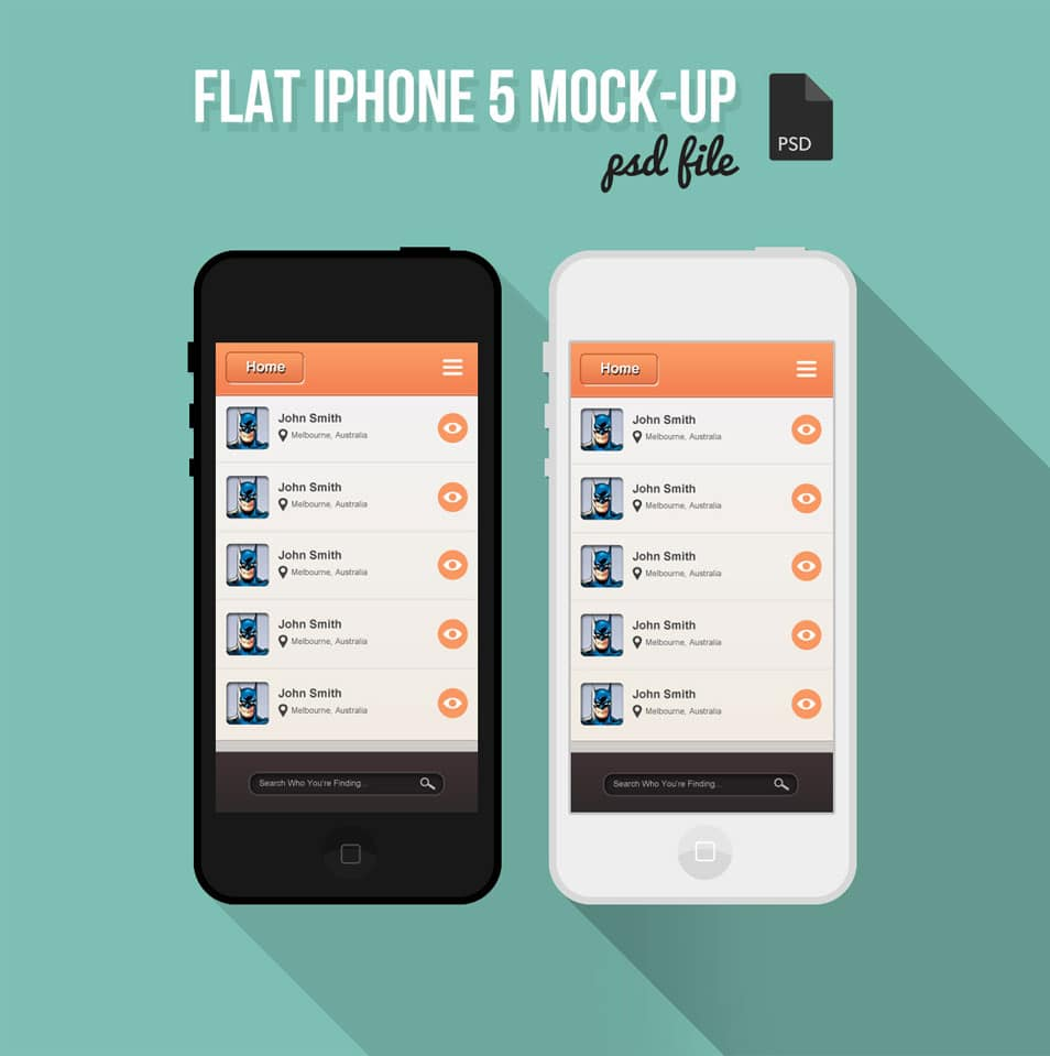 Free Flat iPhone 5 Mock-Up PSD
