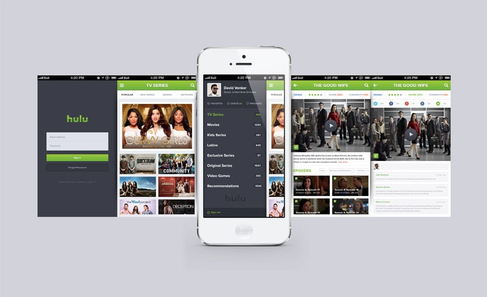 Hulu iPhone app design Free PSD