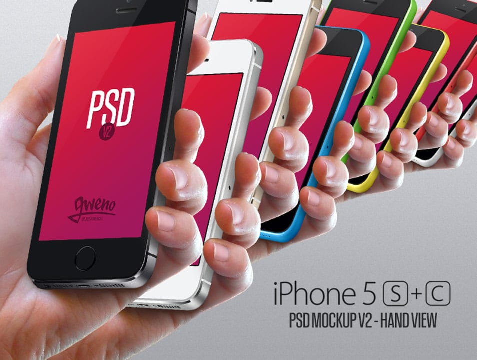 Iphone 5S & 5C Mockup Hand PSD