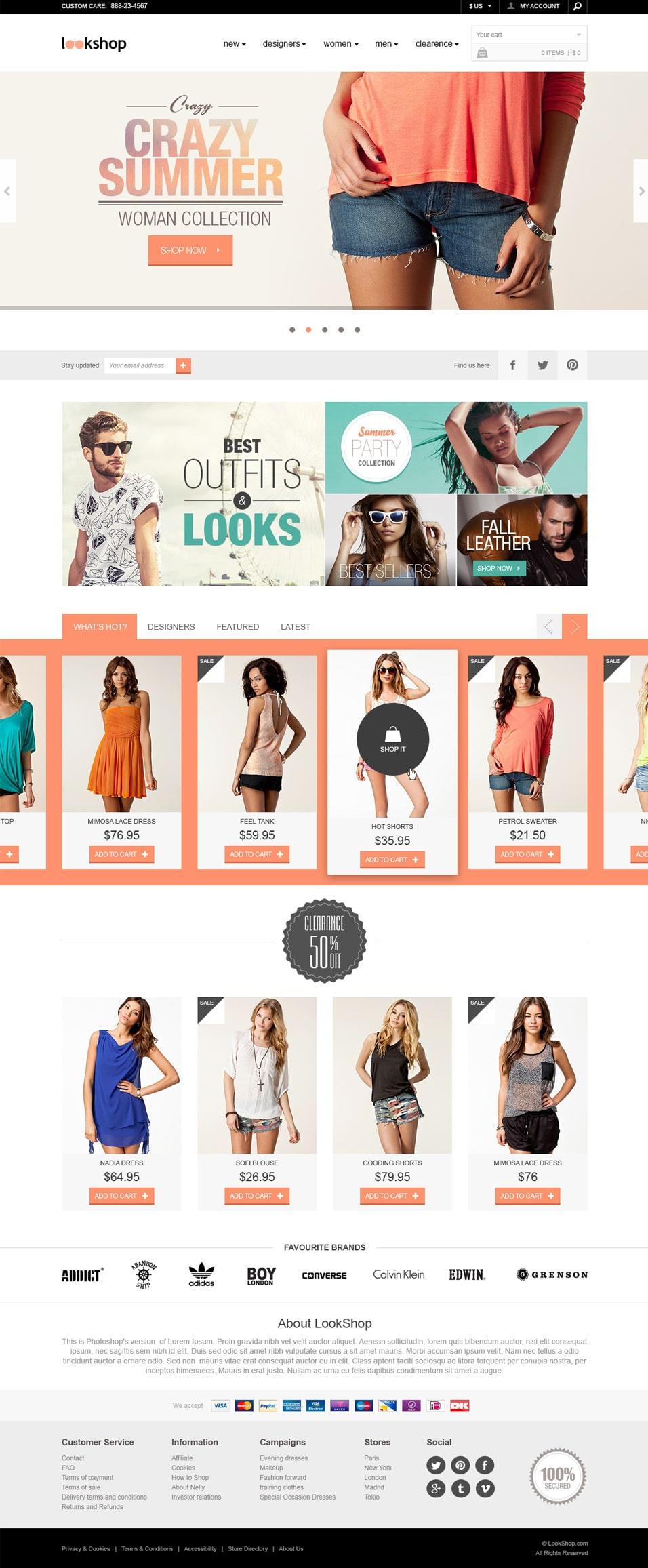e commerce sites templates - lookshop e commerce responsive design template