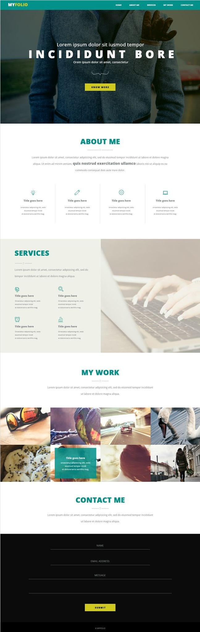 Single Page Portfolio Free PSD