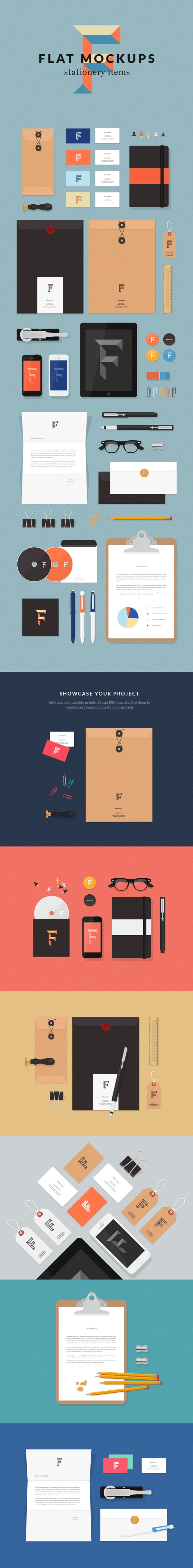 Stationery Items Flat MockUps