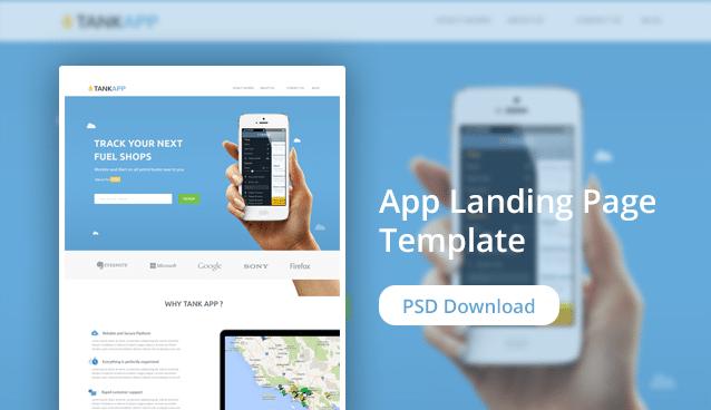 Tank App - FREE Landing page PSD