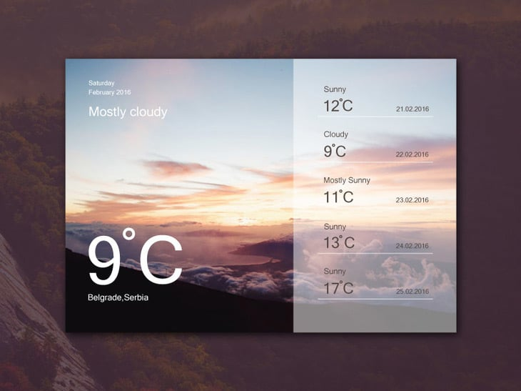 Weather Widget UI PSD