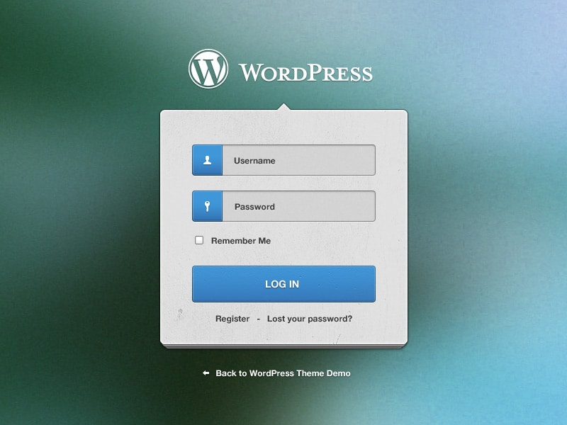 Wordpress Login Screen Widget PSD