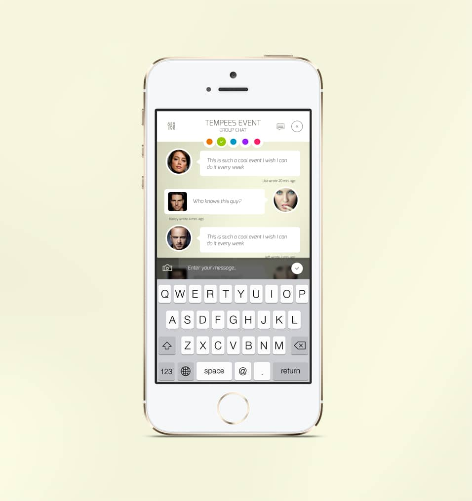 iOS Chat Screen Mobile App UI PSD
