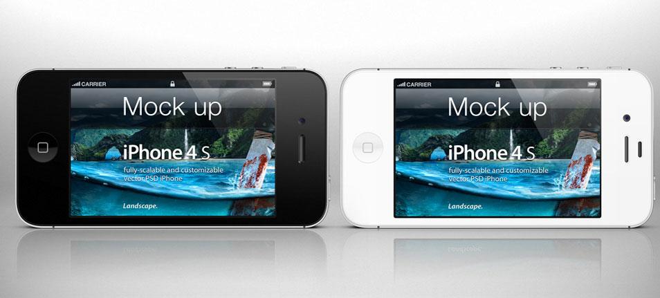 iPhone 4s Psd Landscape Mockup