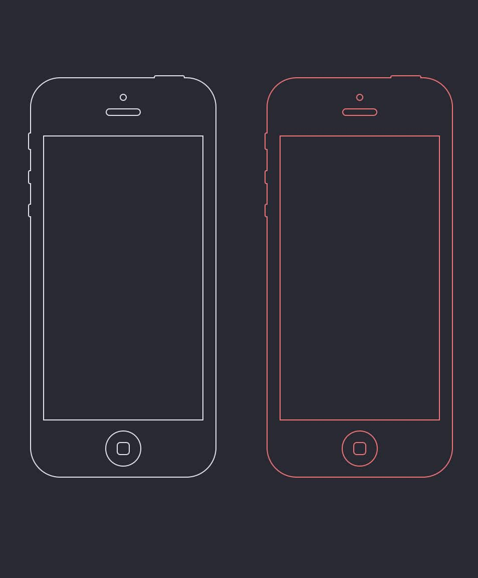 iPhone 5c Wire Frames PSD