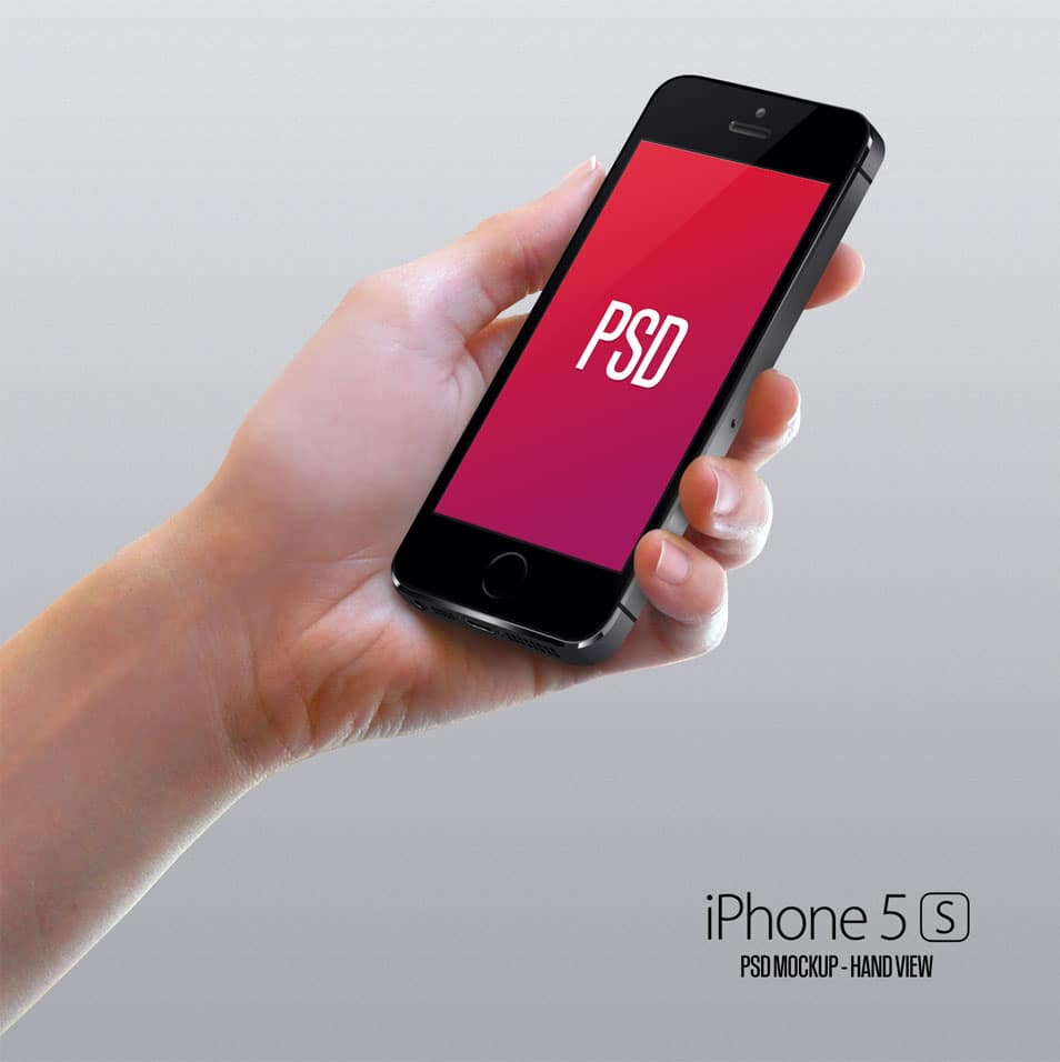 iPhone5S hand view mockup