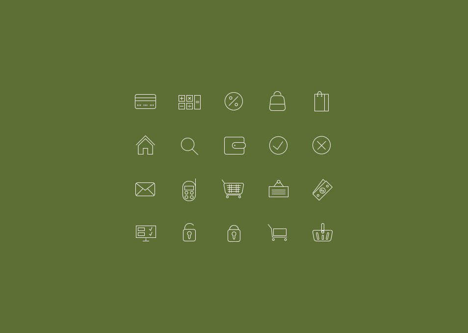 20 thin icons for online shops