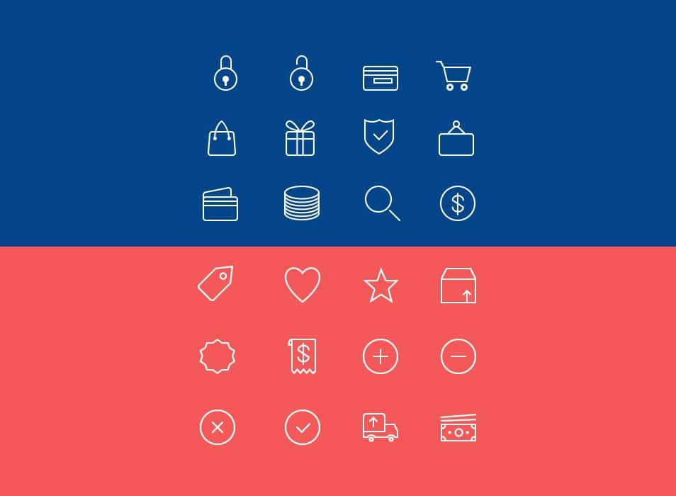 24 Ecommerce Line Icons PSD