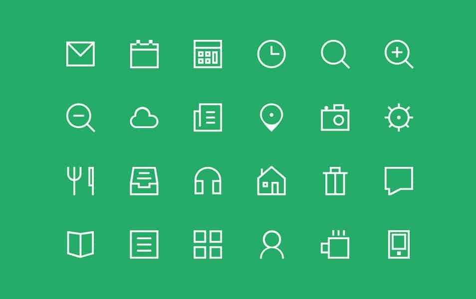 24 Thin Icon set