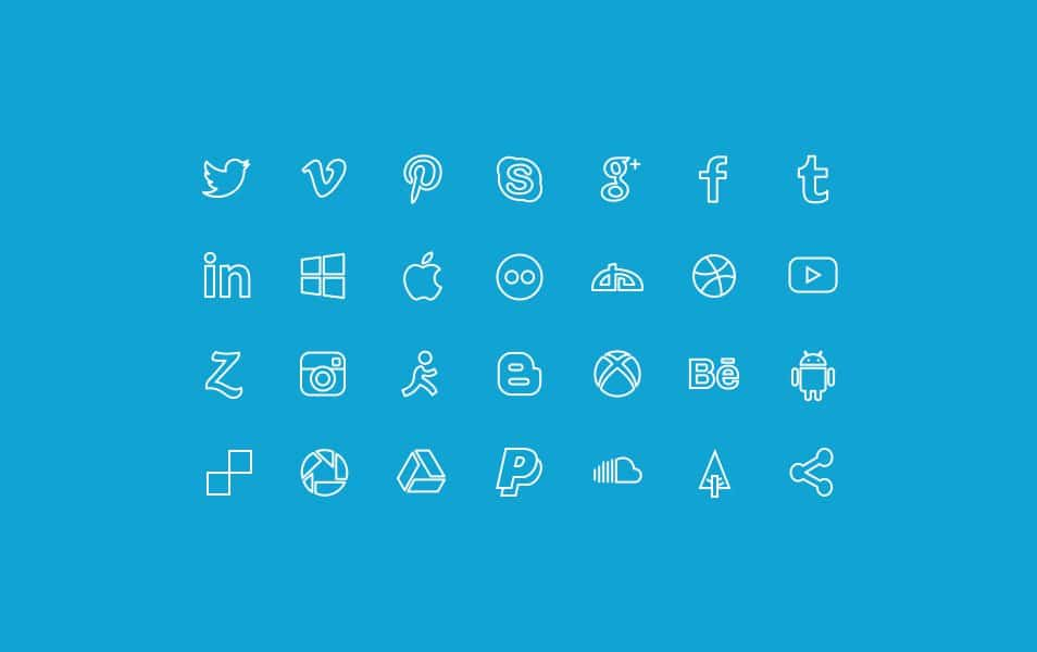 27 Outline Social Icons Set