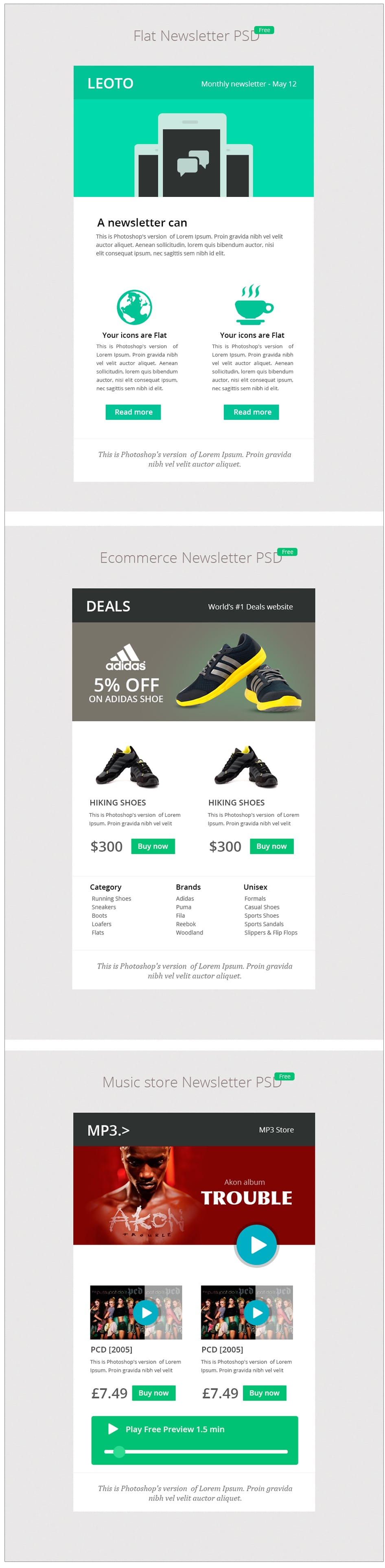 3 Free E-mail Newsletter Designs PSD