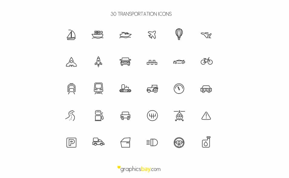 30 FREE Transport Icons
