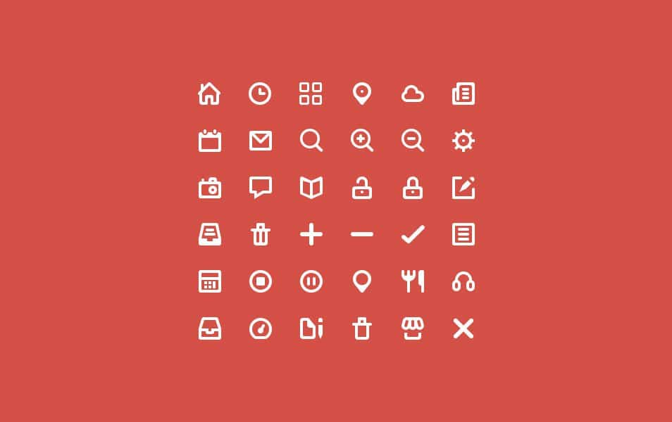 36 various icons
